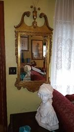 GORGEOUS gilt mirror....'Tranquility' marble bust