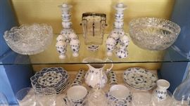"""Royal Copenhagen dinnerware """"Blue Fluted"""" - comes in many different designs.  Tall candleholders, shakers, napkin rings, pitcher, cups and saucers, 8"""" plates...     Brilliant cut large bowls.  And a necessity for everyday life - how did i live without it - the beautiful crystal caviar server...."""