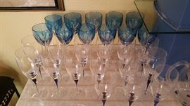 Gorham crystal - blue and crystal cased stemware.... Orrefors 'Intermezzo' stemware with cobalt blue drops