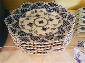 "Royal Copenhagen dinnerware ""Blue Fluted"" FULL LACE  8"" plates"