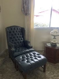 Leather Chair & Matching ottoman  End tables and Vintage Lamp (One of Two)