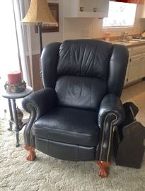 Real Leather with Claw Feet recliner (Originally sold for $848) , Marble Top table , magazine Holder