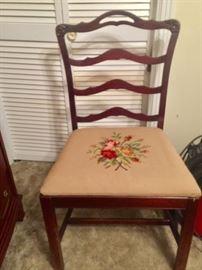 Needlepoint Bottom Mahogany Antique Chair