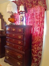 Matching Mahogany Tall Chest in Mint Condition      Vintage Lamps with Wonderful Shades