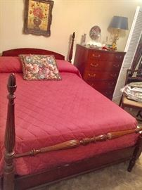 Antique 4 Poster Mahogany Bed   Tall Solid Mahogany Antique Chest