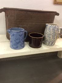 Stone ware & Copper Boiler Wash Tub