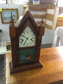 Antique 8 Day Clock with Reversed Painting