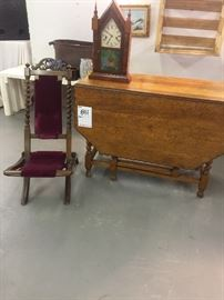 Victorian Field Officers Chair  , Antique 8 Day Clock , Antique Oak Drop Leaf Table with Pie Crust Scalloped Edges