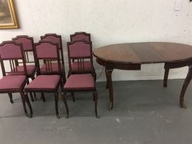 Antique French Dining Room Suite Set of 6 French Chairs and Matching Table