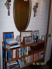 vintage large Oval Mirror with matching Candle Holders, metal Bookcase and misc.