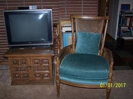 vintage Chair, TV and large Square End Table