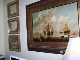 vintage large Ship Picture and more