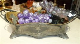 Austrian silver jardiniere with real gemstone grapes.