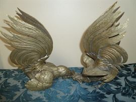 Brass rooster pair