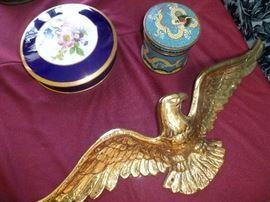Limoges porcelain covered box, cloisonne tea box,. brass eagle