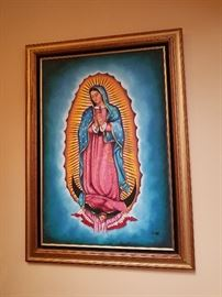 FRAMED PAINTED LARGE OUR LADY OF GUADULPE