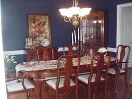 Dining room, traditional mahogany furniture with Queen Anne style chairs, mahogany server, and Corner China Cabinet--obi silk runner, and dining room accessories and serving pieces