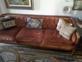 Red Suede- 3 Seater Vintage Couch with Maple Frame.