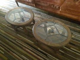 Vintage Stain glassed rimmed and wood oval end tables.