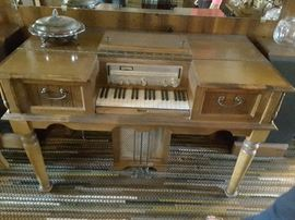 Piano, Receiver, Keyboard, 2 Foot Pedals, Record Player Instrument - Furniture.