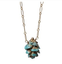 Gold-filled blue pine cone necklace by Nancy Nelson