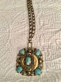 Turquoise/brass necklace