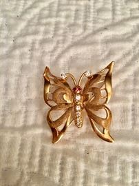 14k/diamond brooch