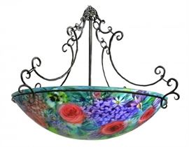 Hand painted Ulla Darni Chandelier, signed and with Thumbprint. This one is really pretty!