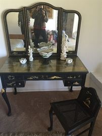 Vanity and dressing chair, blanc de chien pieces.