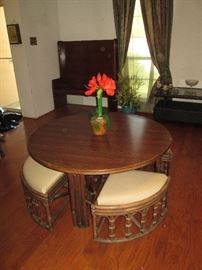 Short Round Table with Stools that Store Underneath it
