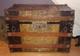 1800's flat top steamer trunk with key and lift out tray - one leather handle has broken off, but is inside the trunk: $199