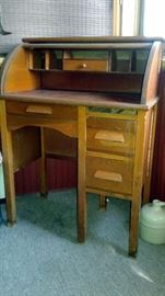 Real wood antique/vintage child's roll top desk and swivel chair - pull out tray (above 2 side drawers) is missing: $180