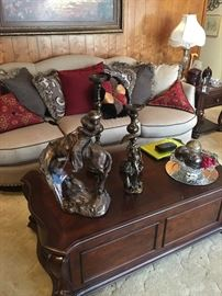 statues, coffee table