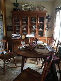 hutch, kitchen table, linens