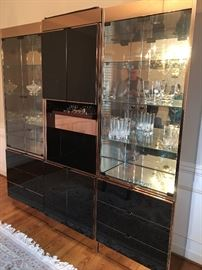 6 piece contemporary Glass, Mirror & Copper Wall Unit/Bar