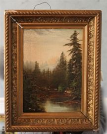 C. 1900 Oil on Board Landscape Painting. Shop now at www.SimplyEstated.com!