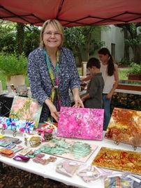 Bonnie and her hand painted tiles that sell out so come early.