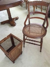 Antique Cane back chair and wastebasket