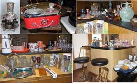Vintage to new bar.  Decanter sets, glasses, crystal, cut glass, wine stems, bar tools, shot glasses