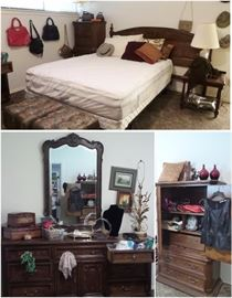 Bernhardt king headboard, Serta queen mattress, 2 clothing armoires, dresser and mirror, 2 side tables, lamps