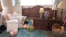 Drexel king headboard, 2 side tables. bed linens, blankets, comforters, pillows, throw pillows