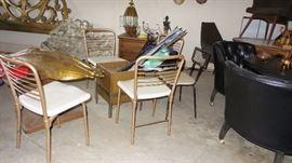 1940s viking planter, 4 folding chairs, light fixtures, box planter