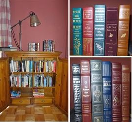 Small collection of books.  Some hard and some soft cover.  A few leather bound books.  Nice desk lamps. Bookcase with doors
