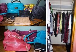 Large wardrobe of women's clothes.  Designer handbags, Tori Burch, Michael Kors, Cole Haun