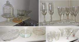 Crystal, cut glass, pressed glass. wine glasses, martini glasses, punch bowls, dome cake plates, platters, servers, bowls