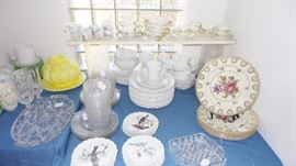 Limoges France Dinner Plates, soup bowl sets, cup and saucer sets and bird pattern small plates.  Cut glass and crystal