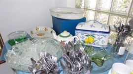 Punch bowl (2) sets, vintage to new flatware sets, glass and ceramic casseroles
