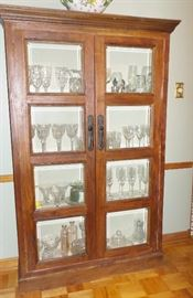 Reproduction wood and glass display cabinet