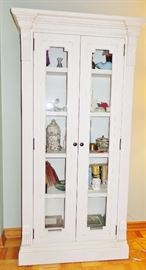 painted wood display cabinet