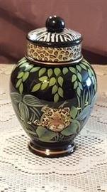 Fenton Ginger Jar with Jungle design.